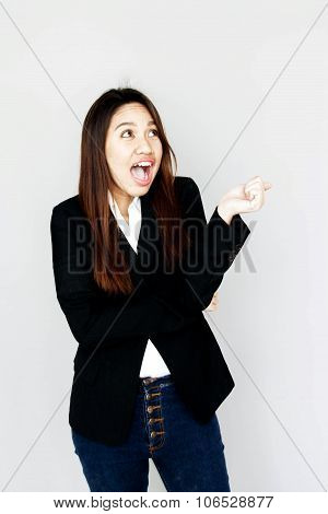 Asian Girl Surprise Smile Action With Black Suite