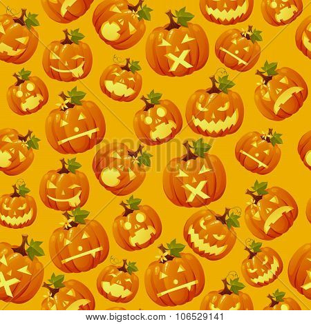 Haloween background, carved pumpkin faces