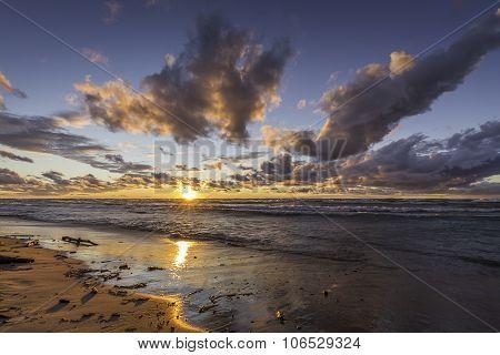 Lake Huron Beach At Sunset - Ontario, Canada
