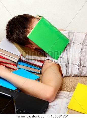 Student Sleep With A Books