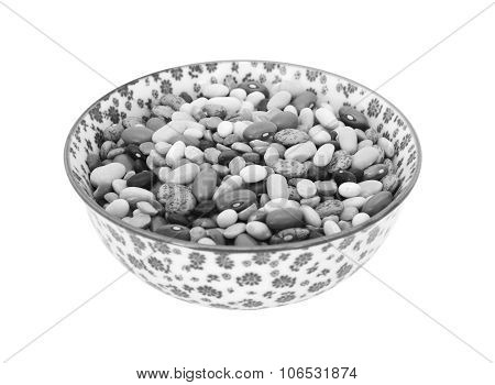 Mixed Dried Beans In A China Bowl