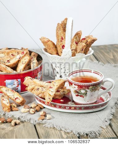 Italian Biscotti Cookies And Tea