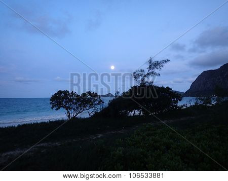 Full Moon Over Waimanalo Beach