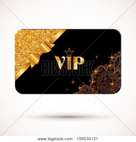 Black vip card template with glitter effect and golden bow