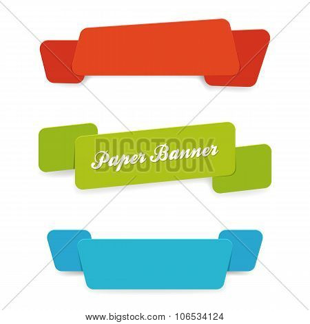 set of paper banners with rounded corners