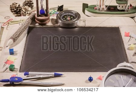 Wooden Table Top View Of The Chalk Board .