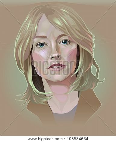 March, 2015. Vector illustration of Jodie Foster.