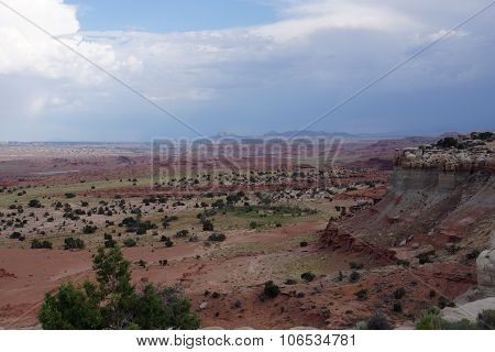 San Rafael Swell Red Mountain Valley Landscape In Utah