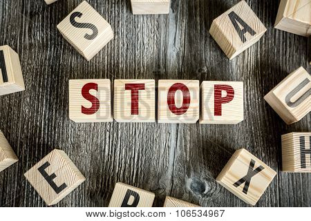 Wooden Blocks with the text: Stop