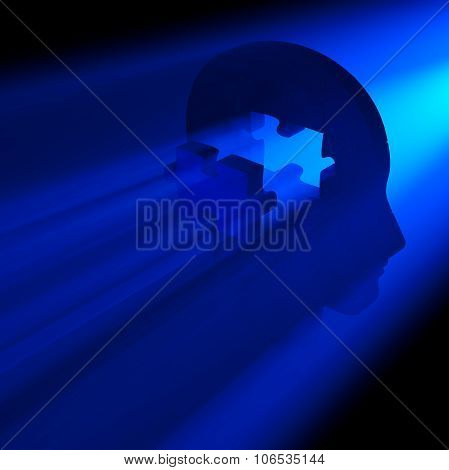 Jigsaw Puzzle Pieces Forming A Human Head. Conceptual Piece