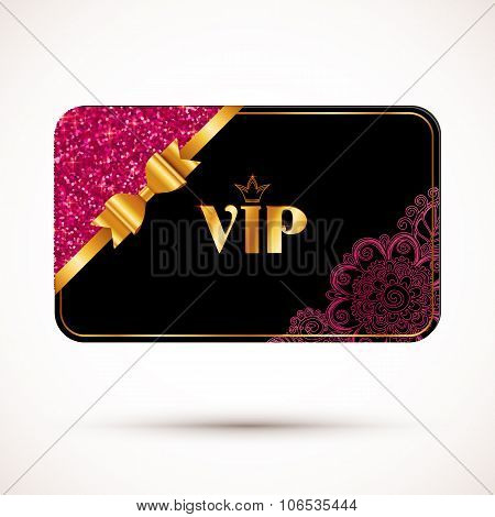 Black vip card template with pink glitter effect and golden bow