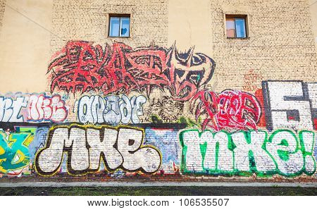 Street Art, Yellow Wall With Graffiti Text Patterns
