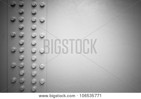 White Steel Wall With Bolts, Metal Details