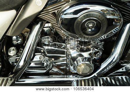 shiny chrome motorcycle engine block