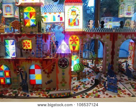 Odessa, Ukraine - July 12, 2015: A Showcase Bright Colorful Candy Caramel Illuminated In Store Augus