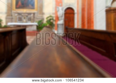 Rows Of Wooden Church Benches Without Anybody From Close