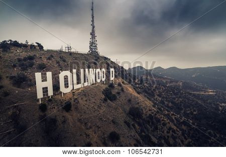 LOS ANGELES - October 2015: Hollywood Sign aerial view on a gloomy day.