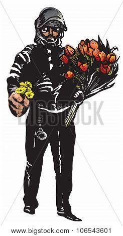 Policeman With Flowers, Gentle Hero - Freehand, Vector