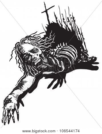 Undead, Zombie - Vector, Freehand Sketching