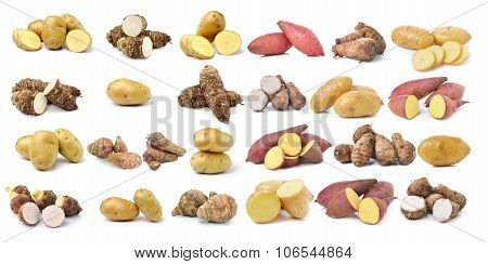 Sweet Potato, Potato, Taro Root  On The White Background