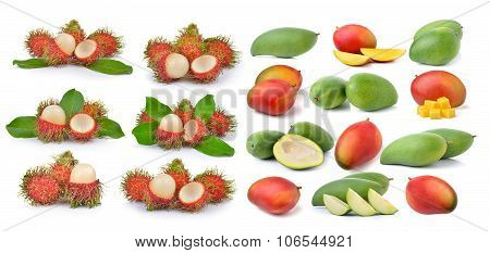 Mango And Rambutan On White Background