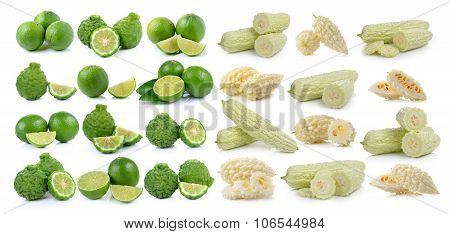 White Bitter Melon And Bergamot Fruit And Lime On A White Background