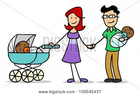 Caucasian family with stroller adopting two african babies