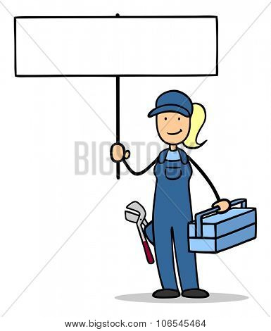 Woman as plumber holding up a sign for marketing