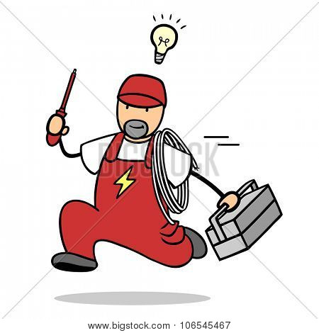 Fast electrician running with tools and light bulb over his head