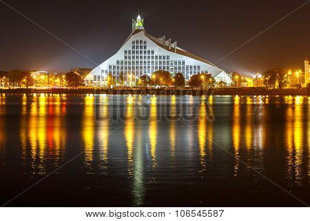 Latvian National Library at night, Riga, Latvia