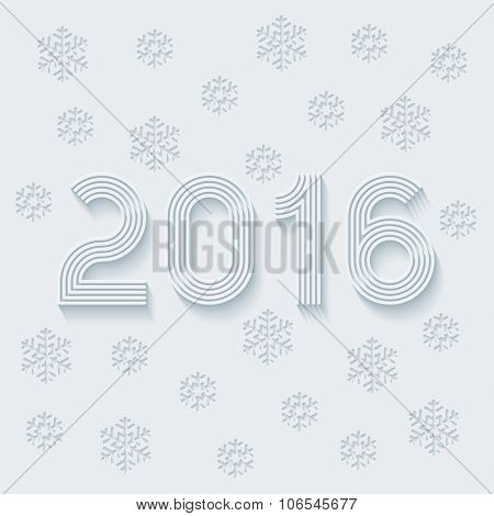 New year 2016. Light perforated paper with cut out effect. Vector EPS10.