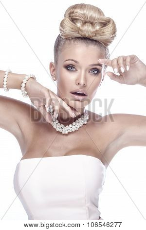 Beauty Portrait Of Elegant Blonde Lady.