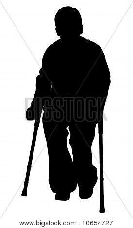 Handicap Person With Crutches