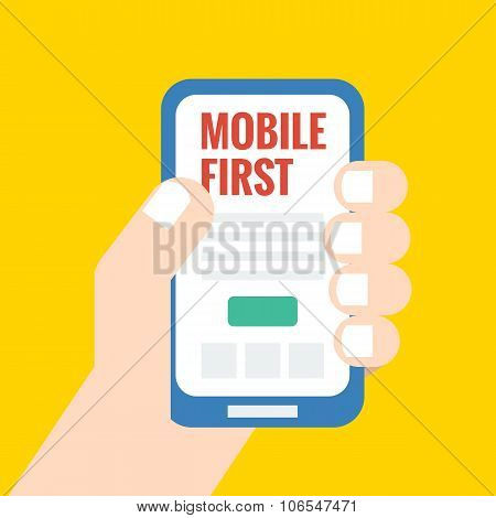 Flat Style Illustration, Mobile First - Strategy In Web Design
