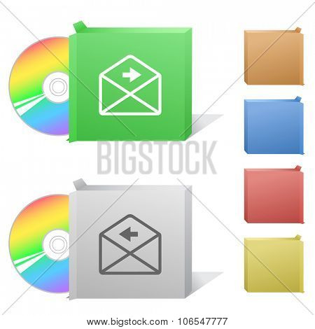 mail right arrow. Box with compact disc. Raster illustration.