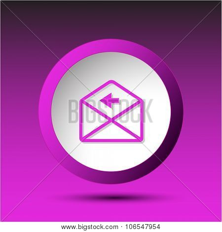 mail left arrow. Plastic button. Raster illustration.