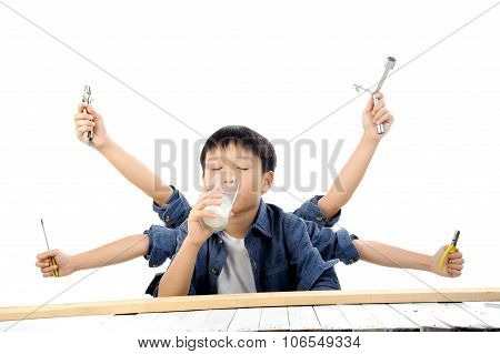 Boy Drink Milk Has Multiple Hand Work