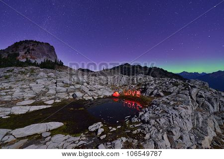 Aurora Borealis And Tent On Artist Point, Mt. Baker