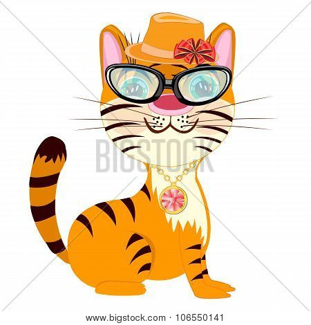 Cartoon Fashionable Tigress