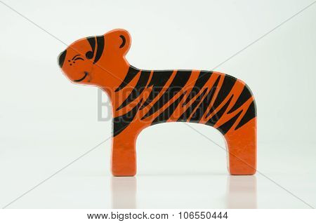 Wooden Tiger On White