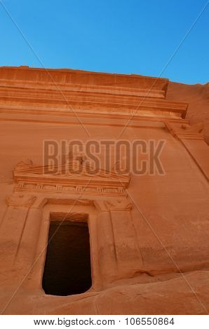 Tomb Entrance Cut Into Rock In Saudi Arabia Desert