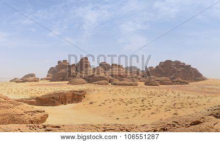 Desert Landscape - Basalt Stone Mountain / Rocks And Tomb Entrance