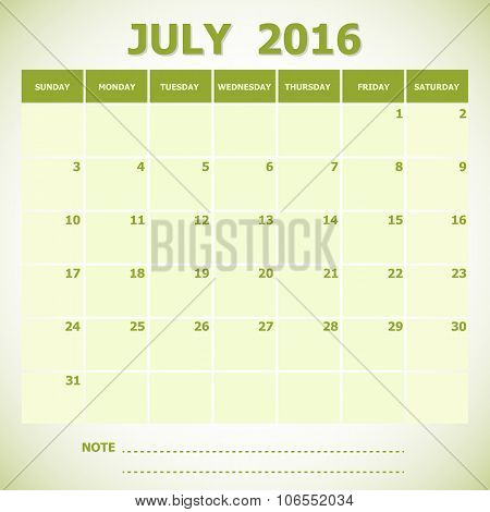 Calendar July 2016 Week Starts Sunday