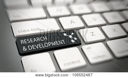 Online Research and Development concept with white text - Research and Development - and an atomic structure icon on a black enter key on a white computer keyboard viewed high angle. 3d Rendering.