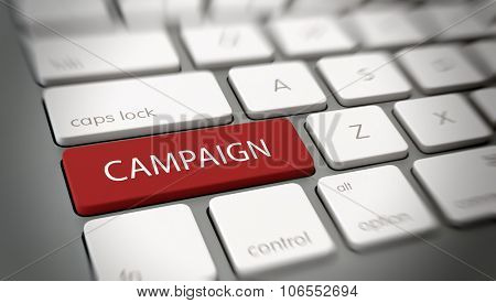 Online or internet Campaign concept with white text - Campaign - on a large red enter key on a white computer keyboard viewed obliquely at a high angle with blur vignette for focus. 3d Rendering.