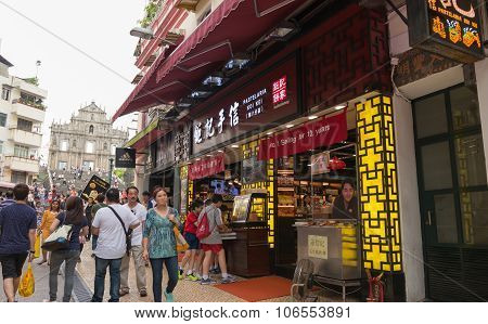 Macao-june 25, 2015: Tourists Visit The Historic Centre Of Macao-senado Square On June 25, 201 In Ma