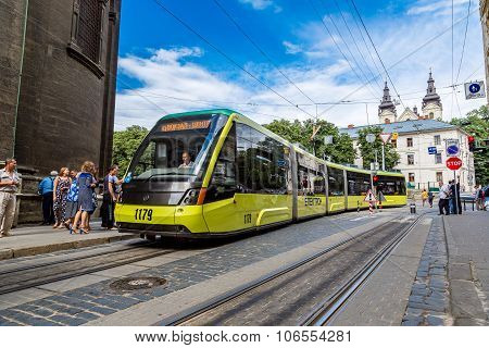 Tram In The Historic Center Of Lviv