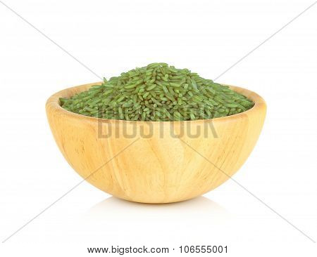 Pandanus Rice In Wooden Bowl On White Background