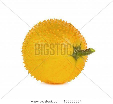Baby Jackfruit, Spiny Bitter Gourd, Sweet Grourd Or Cochinchin Gourd On White Background
