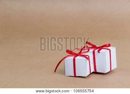 Classy Christmas gifts box presents on brown paper